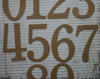 4 inch tall SERIF NUMBERS bare chipboard diecuts great for wedding table numbers [choose quantity, plain or sticker back]