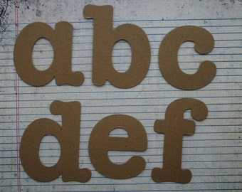 3.5 inch Serif style lowercase raw chipboard alphabet 26 pieces