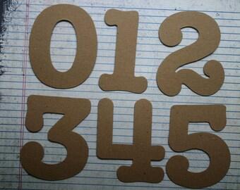 "Numbers 3 1/2"" tall SERIF NUMBERS bare chipboard diecuts [choose quantity; plain/sticker back]"