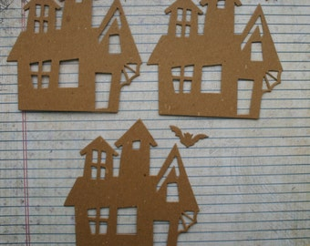 Halloween 3 Bare chipboard die cuts Haunted House and bat    Style no. 1 Die cuts Embellishments