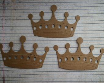 3 Fancy Large Bare chipboard die cuts Crown Diecuts
