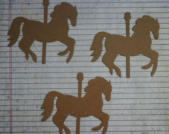 3 Bare/Unfinished chipboard die cut large Carousel HORSE diecuts 4 inches  x 3 3/8 inches