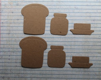 6 Bare chipboard die cuts toast, jam and butter diecuts 2 of each