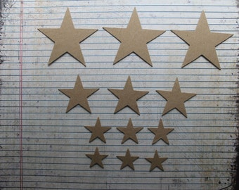 12 Bare chipboard die cuts graduated star die cuts 4 sizes, 3 each