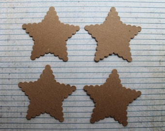 4 Scalloped  Star Chipboard Die cuts 3 1/4 inches wide