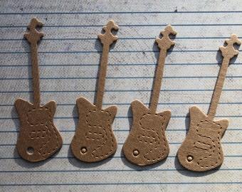 4 Small Bare chipboard die cuts guitar diecuts 3 3/8 inches long