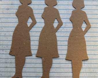 3 Large Bare chipboard die cuts Mom, Woman diecuts 6 1/8 inches long