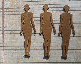3 Woman Model chipboard die cuts  diecuts 4 7/8 inches long