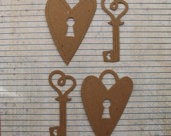 2 sets Bare chipboard die cuts Heart Lock and Key Diecuts 4 pieces total, 2 hearts,2 keys