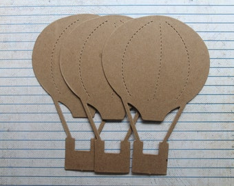3  Bare/Unfinished chipboard die cuts hot air balloon [or white cardstock]