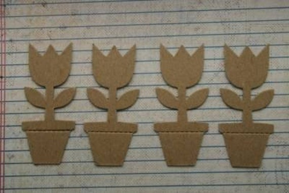 4 Bare Chipboard Tulip in Pot diecut shapes