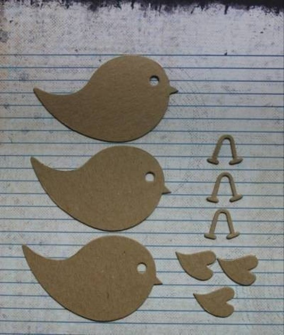 3 Chipboard Bird Diecuts with separate feet and wing