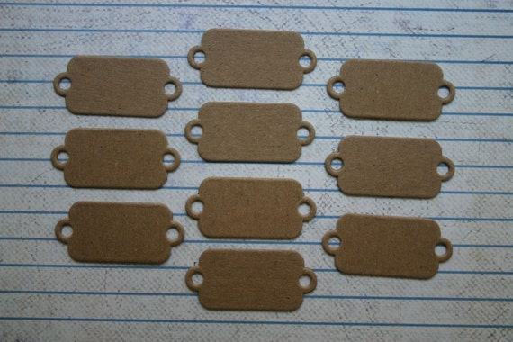 10 mini bare chipboard tags with 2 holes diecuts