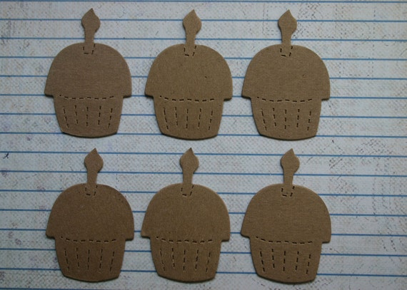 6 Cupcakes with candle mini chipboard die cuts Die Cuts