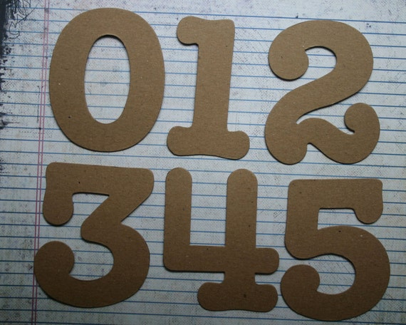 "Numbers 3 1/2"" tall SERIF NUMBERS bare chipboard diecuts [choose quantity; plain/sticker back]"