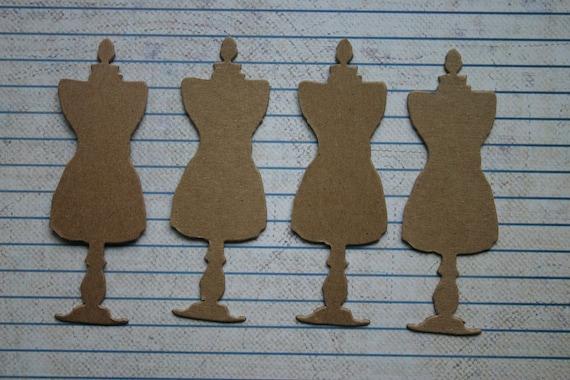 4 Unfinished chipboard die cuts SMALL Tim Holtz Dress Form Diecuts 1 1/8 inch x 3 1/4 inch