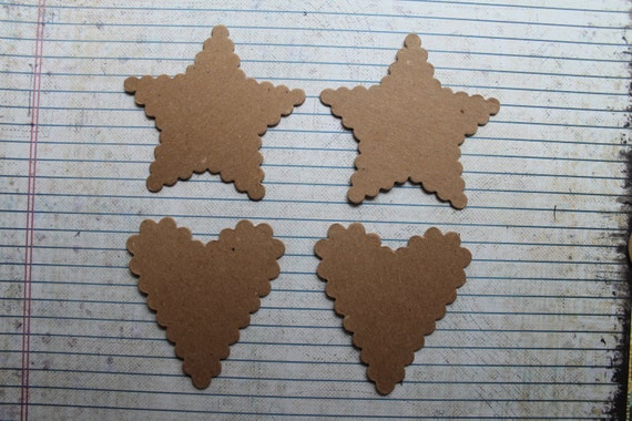 4 Scalloped Heart & Star Chipboard Die cuts 2 of each style