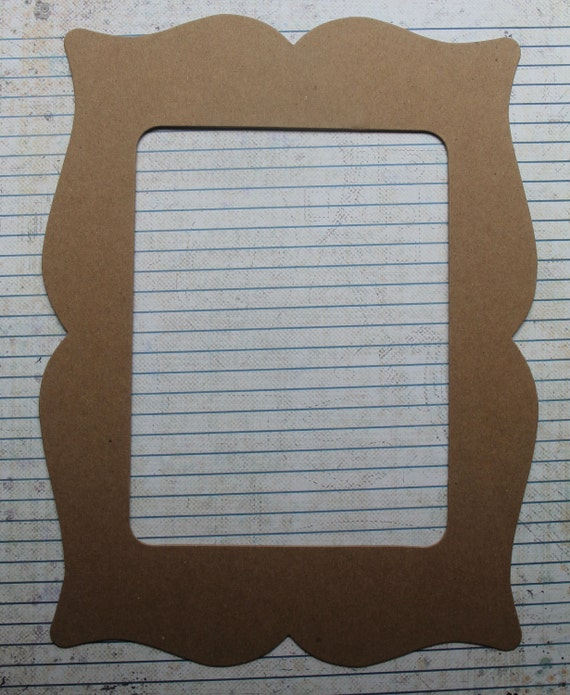 1 Bare chipboard die cut Bracket style Frame Diecut 4 3/4 inch x 6 3/4 inner opening 9 3/4 inch by 7 3/8 inch outside