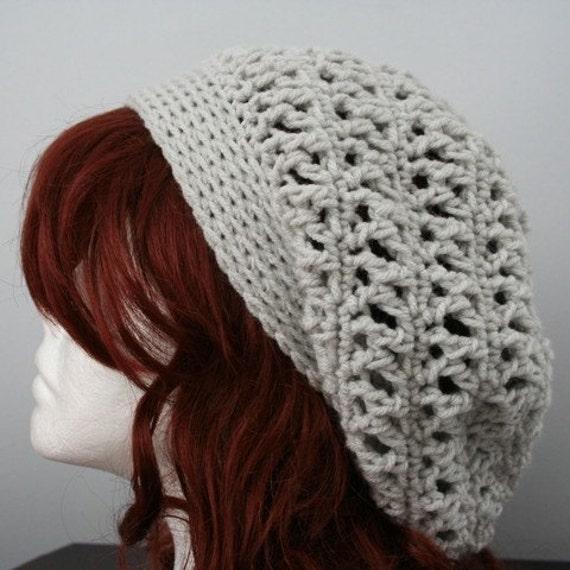 Crochet Slouch Hat: Crocheted Slouch Hat Soft Grey