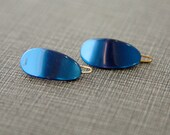 Vintage 60s French Barrettes- Tiny Blue Set of 2