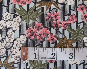 Vintage Fabric- Floral Bamboo 1950s Woven
