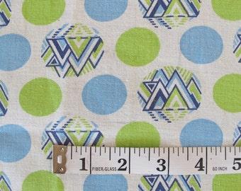 Vintage Fabric- Geometric Art Deco 1960s Cotton