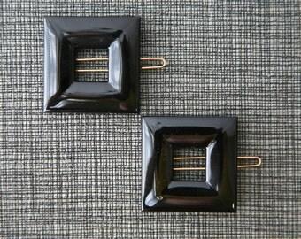 1960s French Barrette Set- Black Squares