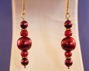 Ruby Earrings, 14 Carat Gold Vermeil, July Birthstone, Red and Gold Earrings, Genuine Ruby, Pearl, Ready To Ship Royal Princess