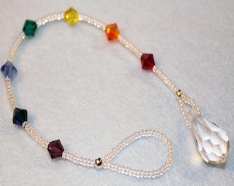 Rainbow, Chakra, Sun Catcher, Swarovski Crystal,  Ornament, Pendulum, Prism, Window Crystal, Ready To Ship, Shimmer Shimmer