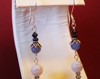 Chalcedony, Blue Lace Agate Earrings, Genuine Sapphires, Swarovski Crystals, Sterling Silver, Ready To Ship, Alyssa, Shimmer Shimmer