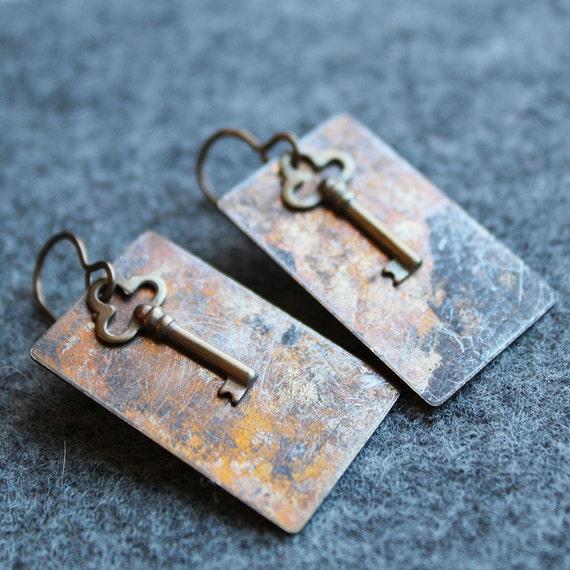 Key Patina Brass Earrings