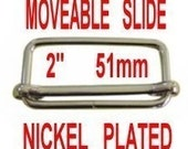 2 inch, 10 PIECES, NICKEL Plate Tri-Bar Moveable Strap Adjuster Slide, 51mm