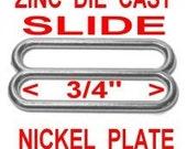 "20 PIECES - 3/4"" - Metal ZINC DIECAST Slide, 3/4 inch, Tri-bar Buckle Purse Strap Adjuster, .75 - Nickel, Black or Antique Brass Finish"