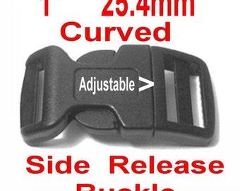 "10 BUCKLES - 1"" - CURVED SIDE Release, 1 Inch , Dog Collar Adjustable Strap, Plastic 25.4mm"