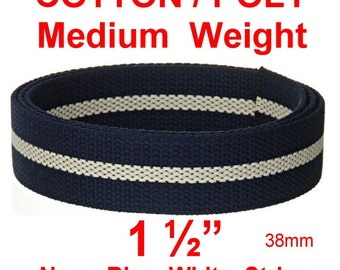 """5 Yards - 1 1/2"""" - COTTON Poly Blend Webbing, NAVY Blue or RED with White Stripe, 1.5, Medium Heavy Weight"""