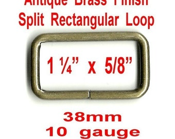 "10 PIECES - 1 1/4"" - Metal Split Rectangular Loop Rings, 1 1/4 inch, ANTIQUE BRASS  Finish, 1.25"