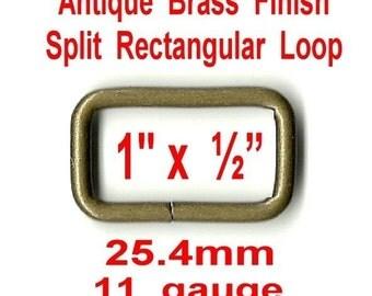 "10 PIECES - 1"" - Rectangular Loop Rings, 1 inch, Metal, Split, ANTIQUE BRASS Finish"