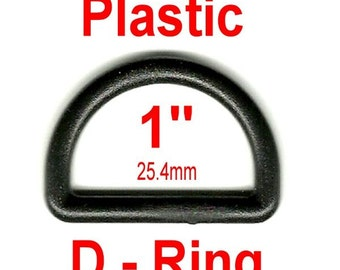 """20 PIECES - 1"""" - D-Ring, 1 inch , 25mm, Dee Ring, Polyacetal Plastic - BLACK or WHITE"""