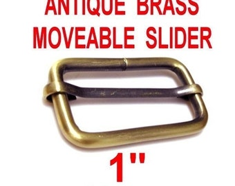 "5 PIECES - 1"" - Moveable Bar Slide, Strap Adjuster Slider - Antique BRASS or Nickel Plate Finish"