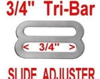 "50 PIECES - 3/4"" - Stamped Metal Buckle Slide, Tri Bar Strap Adjuster, NICKEL Plate Finish......"