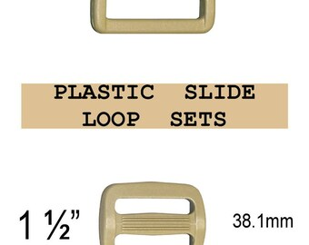 "100 SETS - 1 1/2"" - Strap Adjuster and Rectangular Loop, 1 1/2 inch, COYOTE Tan, Plastic, 38mm, 3 Bar Slider, Tri Bar"
