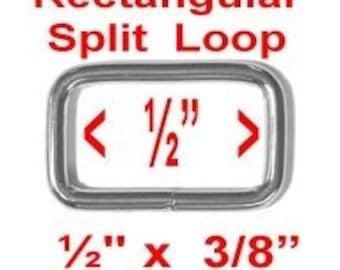 "50 PIECES - 1/2"" - Split Rectangular Loop Rings, 1/2 inch, Metal NICKEL Plate Finish, .5, 12.7mm"