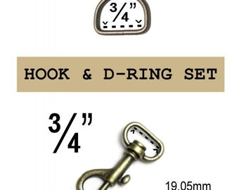 "10 SETS - 3/4"" - WRISTLET Hardware, Purse Strap Clip, 3/4 Inch D ring and 3/4 Inch Swivel Snap Hook, Antique BRASS, 19.05mm, .75"