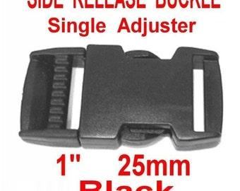 "10 BUCKLES - 1"" - Flat Side Release, Strap Adjuster, Heavy Duty Polyacetal Plastic, BLACK or WHITE"
