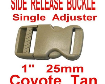 "6 BUCKLES - 1"" - FLAT Side Release, Strap Adjuster, Acetal Plastic, Coyote TAN"