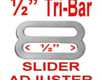 "20 PIECES - 1/2"" - Stamped Metal Buckle Slide, Tri Bar Strap Adjuster, NICKEL Plate Finish 1/2 inch"