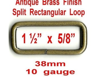 "20 PIECES - 1 1/2"" - Split Rectangular Loop Rings, 1 1/2 inch, ANTIQUE BRASS  Finish, 1.5"