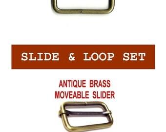 "2 SETS - 1 1/2"" - Slide and Loop SET, MOVEABLE Tri Bar, Antique Brass Finish, 1.5"
