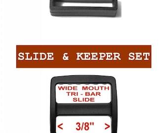 """100 SETS - 3/8"""" - Strap Adjuster, 3/8 inch, 3-Bar Slide  and Keeper SET, Plastic - Black or White"""