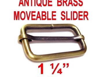 "10 PIECES - 1 1/4"" - Strap Adjuster Slider, 1 1/4 inch, 32mm, Antique Brass Finish, Moveable Bar Slide, 1.25"